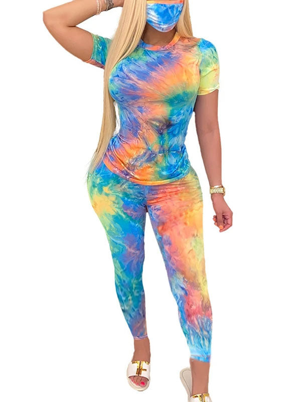 Rosyvivi Women's Round Neck Short Sleeve Tie Dye Casual Pant Suit