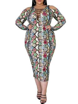 Rosyvivi Women Plus Size Strapless Long Sleeve Serpentine Maxi Dress