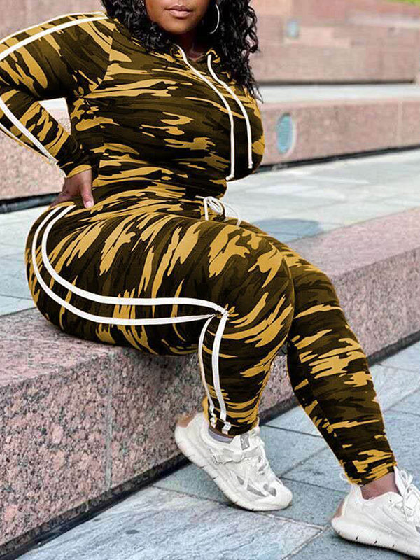 Rosyvivi Women's Plus Size Round Neck Long Sleeve Camouflage Casual Pant Suit