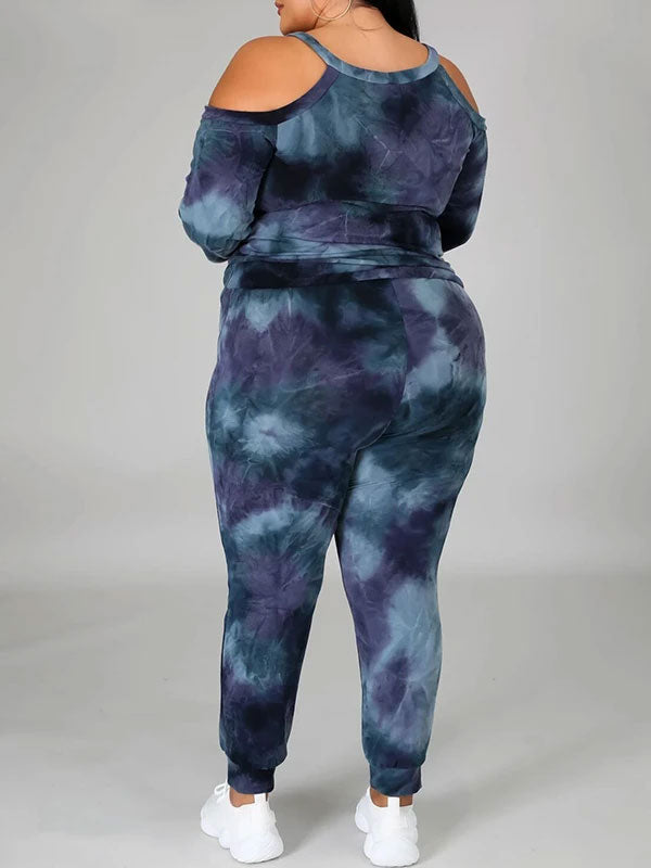 Rosyvivi Women's Plus Size Strapless Round Neck Long Sleeve Tie Dye Daily Pant Suit