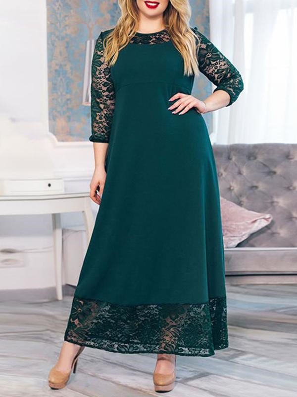 Rosyvivi Women Plus Size Round Neck Long Sleeve Maxi Dress