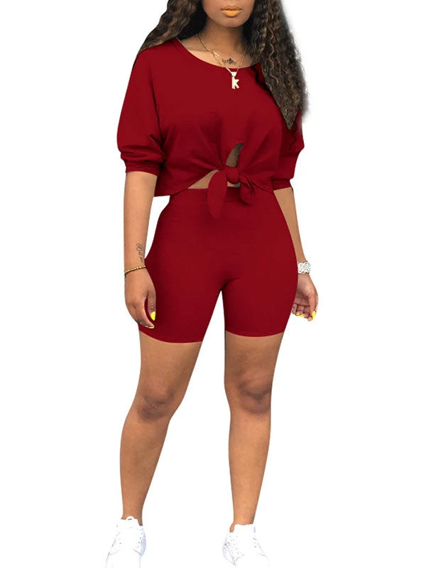 Rosyvivi Women's Round Neck Long Sleeve Solid Color Casual Pant Suit