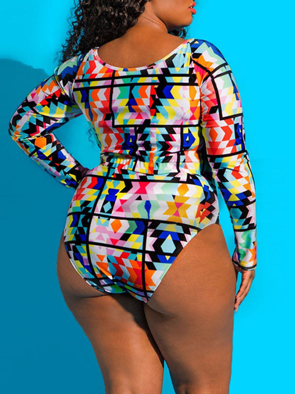 Rosyvivi Women Plus Size Long Sleeve Tankini