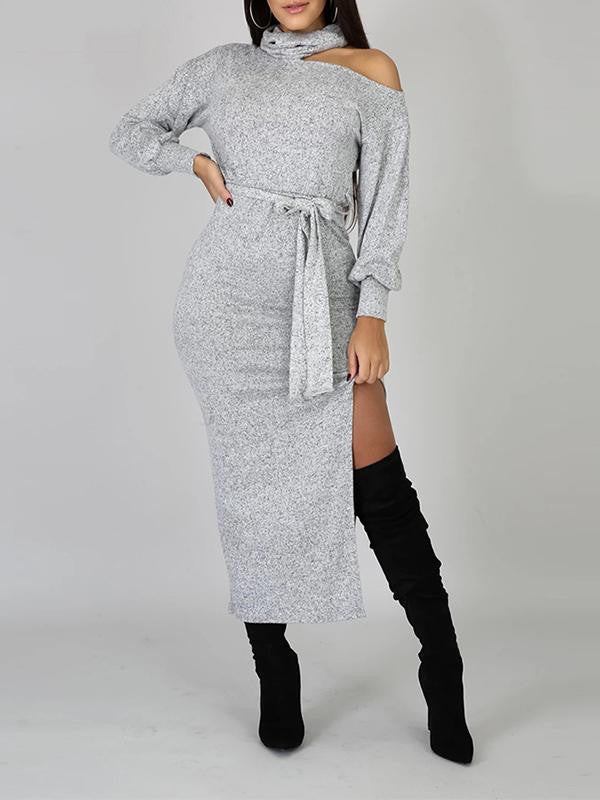 Rosyvivi Women Cold Shoulder Long Sleeve Maxi Dress