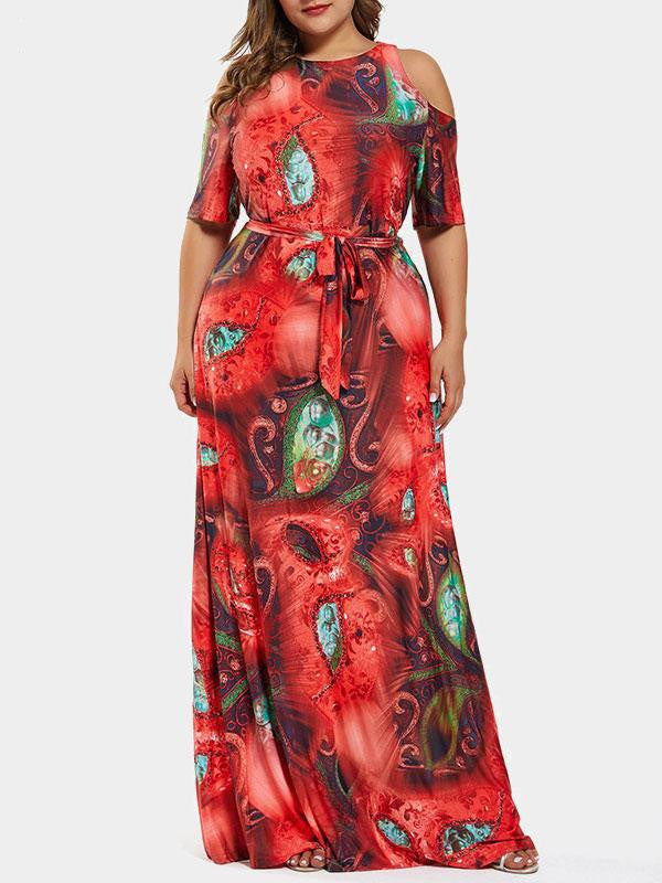 Rosyvivi Women Plus Size Round Neck Maxi Dress
