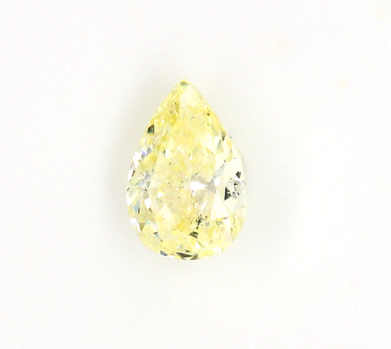 Loose 0.38cts Natural Fancy Light Yellow Diamond In A Pear Shape