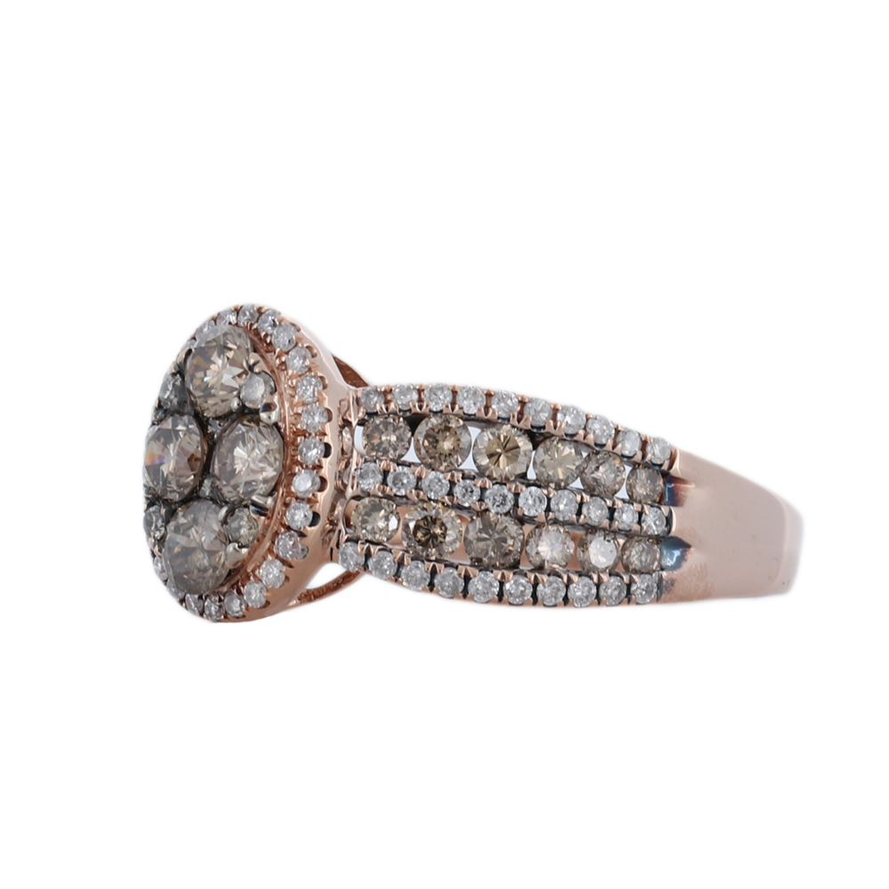 1.25 cts of Brown Diamond Ring set In 14K Rose Gold