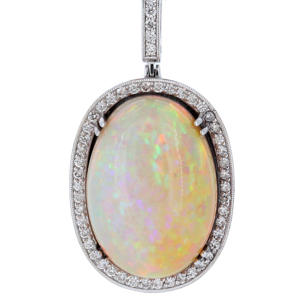 Fiery 22.8ct Opal Set in a Classic 14k White Gold Pendant