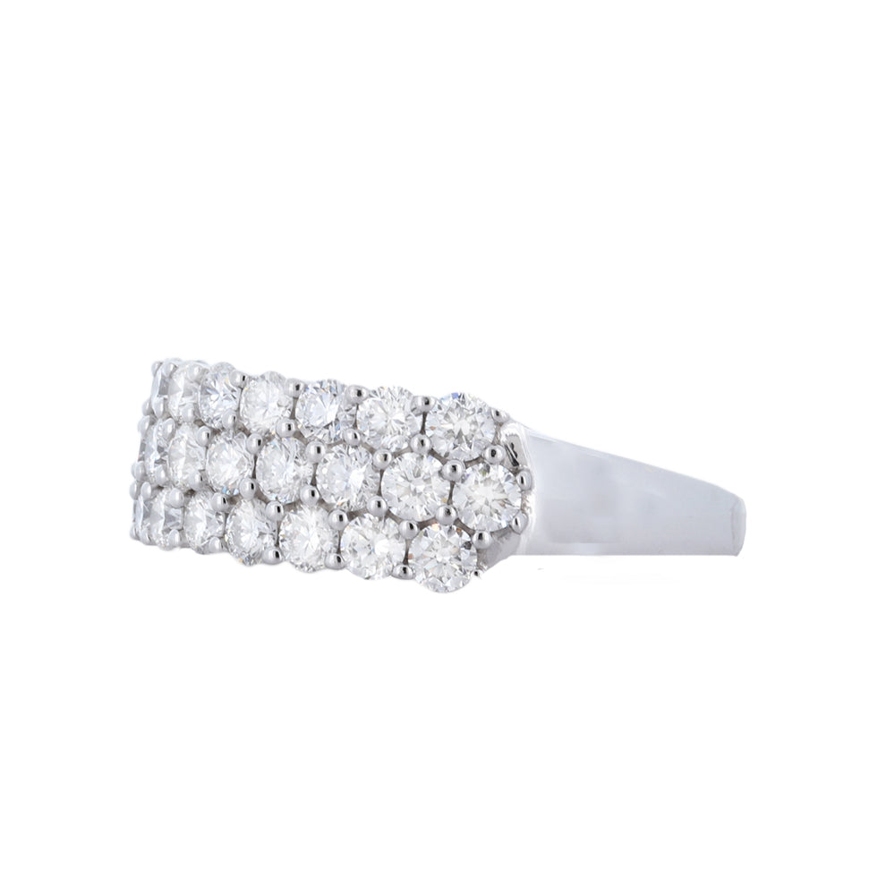 Right Hand Ring, Triple-Row Band With 3.00 Carat In 18K White Gold