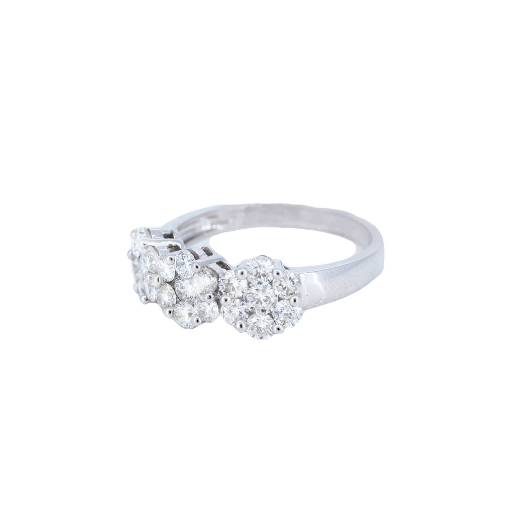 Floral Trio Engagement Ring In 14K White Gold With 1.54 Ct Diamonds.