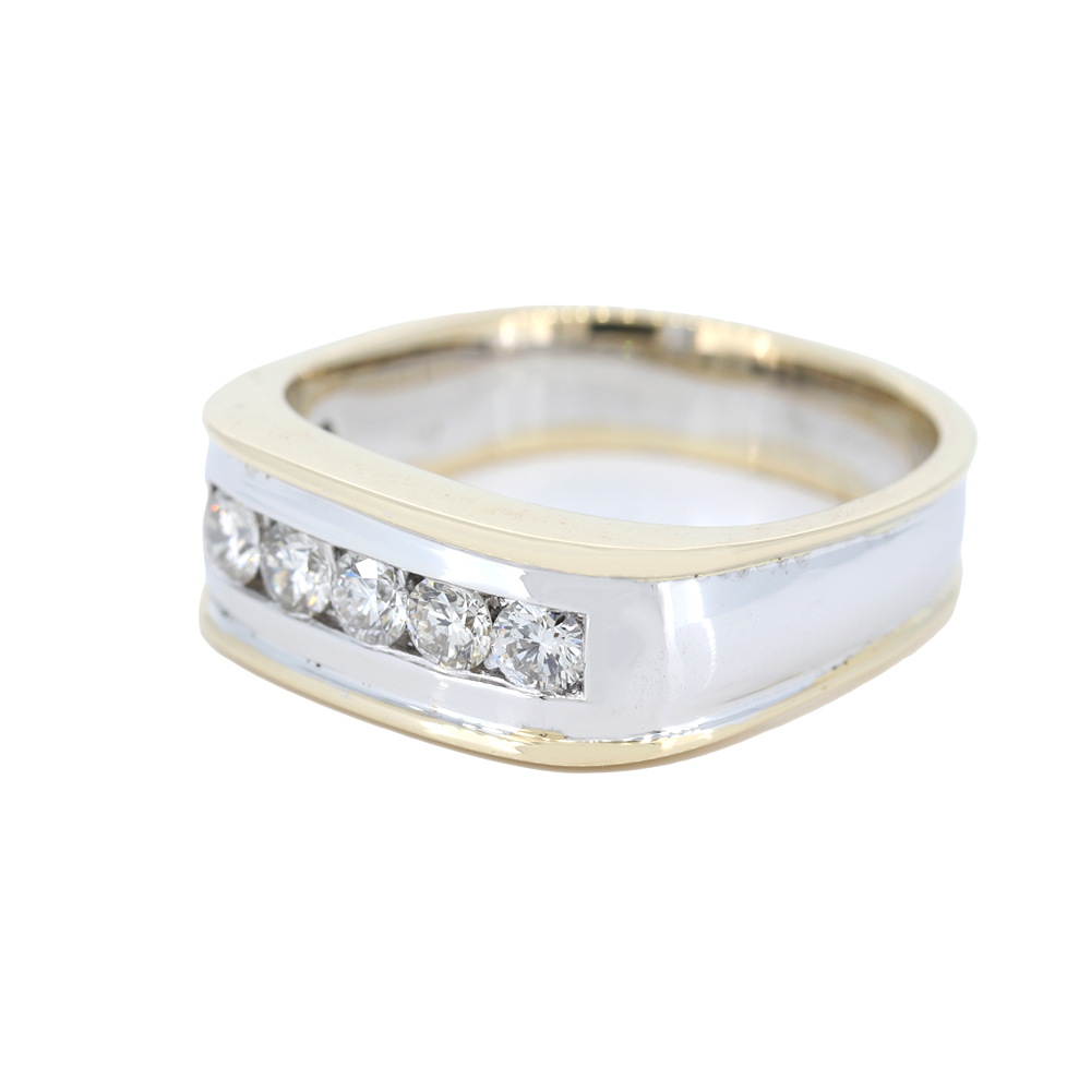 0.77 Carat Five Diamond Channel Set in 14kt Two Tone Bar Ring