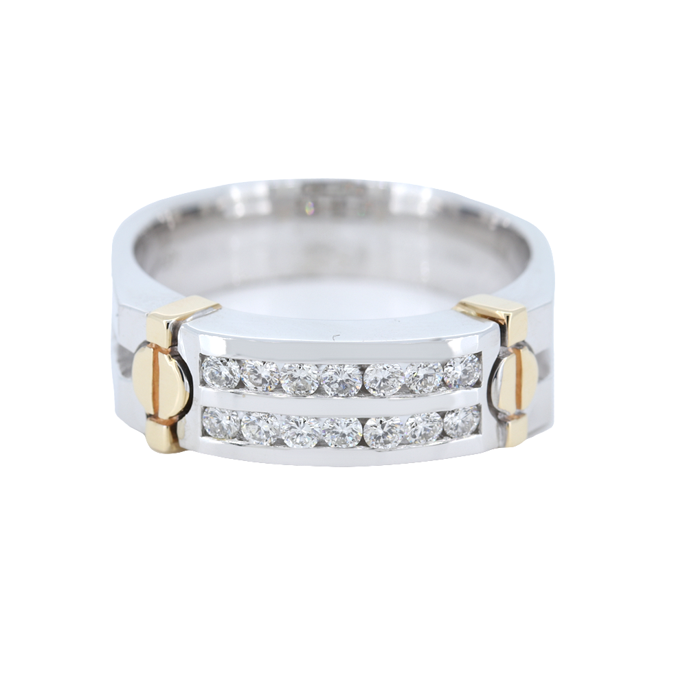 14K Mens Two-Tone Double Row Diamond Channel Set Band With 0.52 Carat Diamonds.