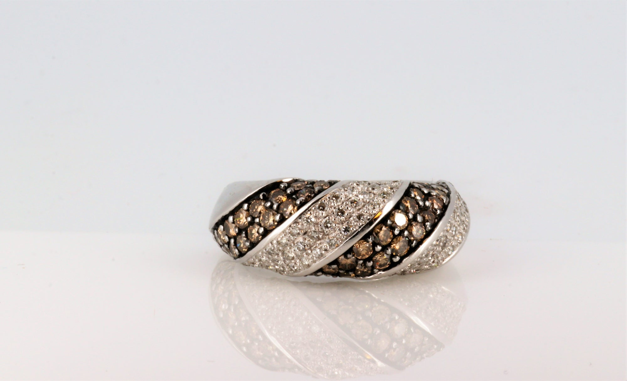 Brown Diamond White Gold Men's Ring