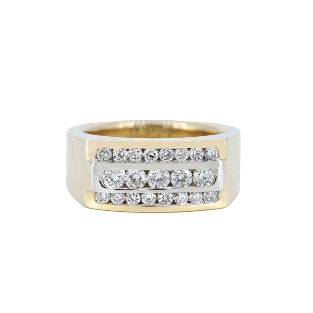 14K Two-Tone Mens Channel Set Diamond Band With 3-Rows Of Round Diamonds, 1.17 Carat