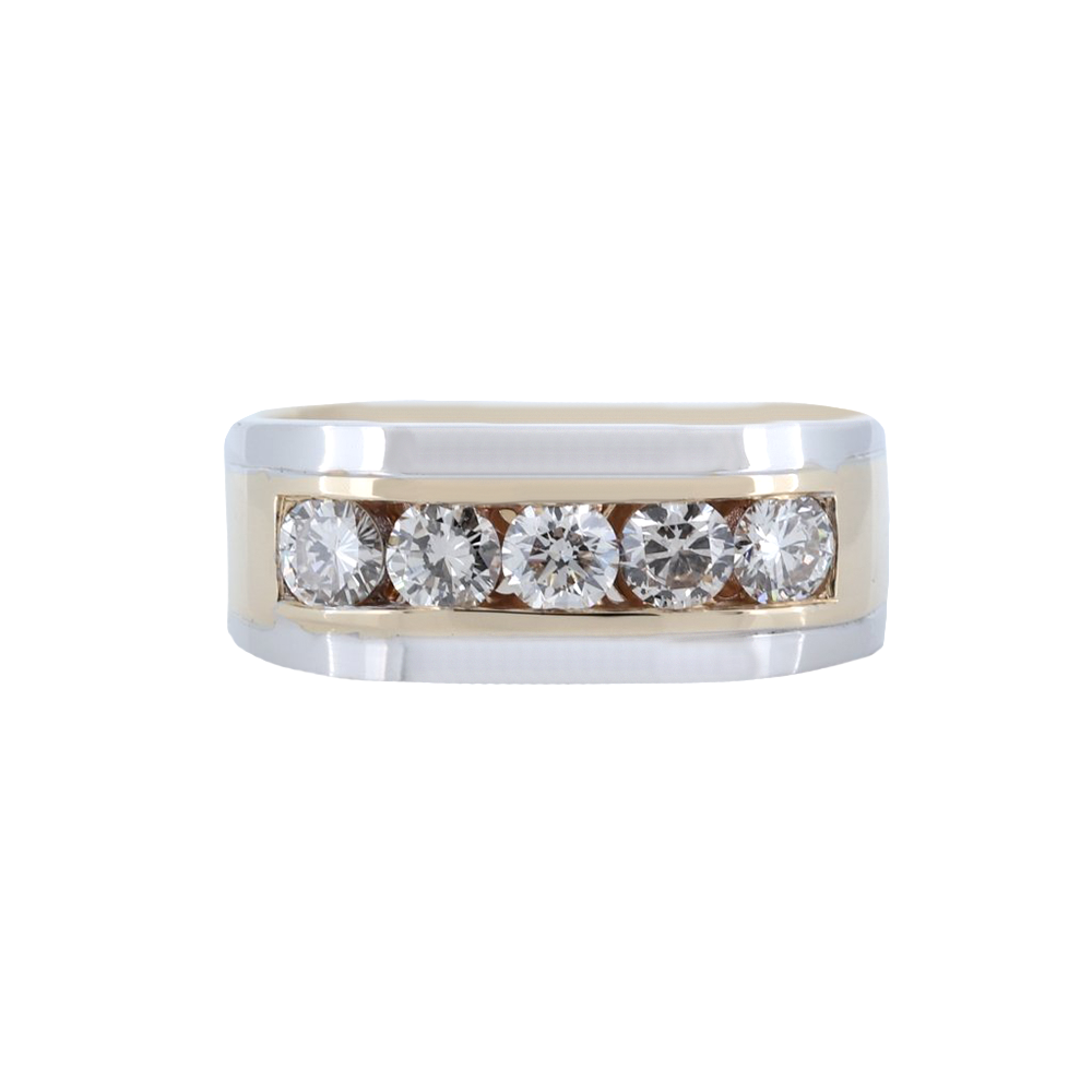 14K Two-Tone Mens 5 Stone Channel Set Round Diamond Band With 1.25 Ct.