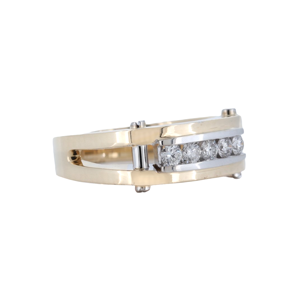 14K Mens 5 Stone Two-Tone Diamond Channel Set Band With 0.54 Carat Diamonds.