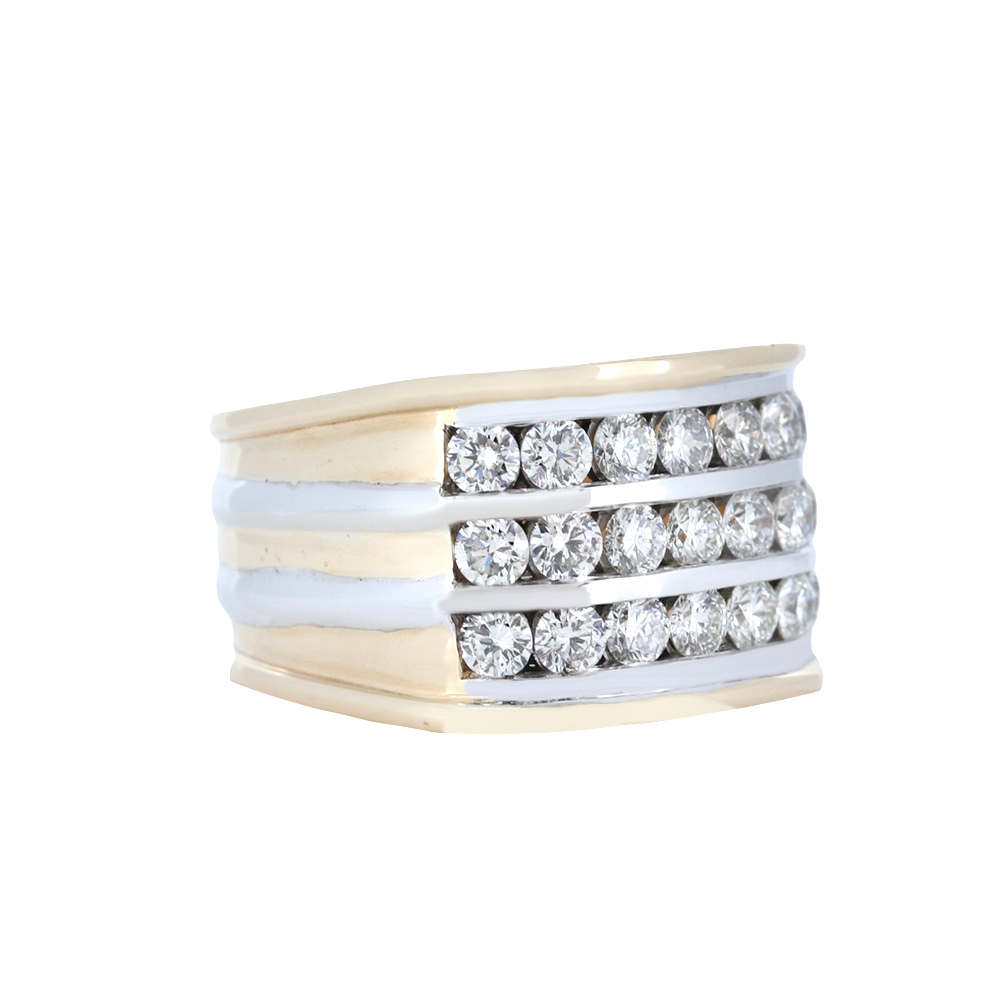14K Two Tone Men's Three Row Diamond Channel Set Ring - 3.30 Carats