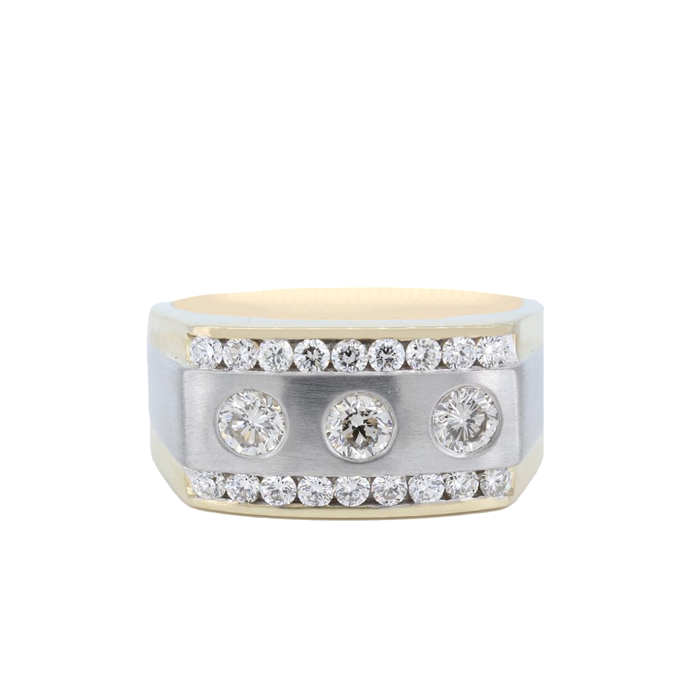 14K Two-Tone Mens Three Stone Round Diamond Ring With Two Rows Of Channel Set Round Diamonds Weighing 1.39Ct.