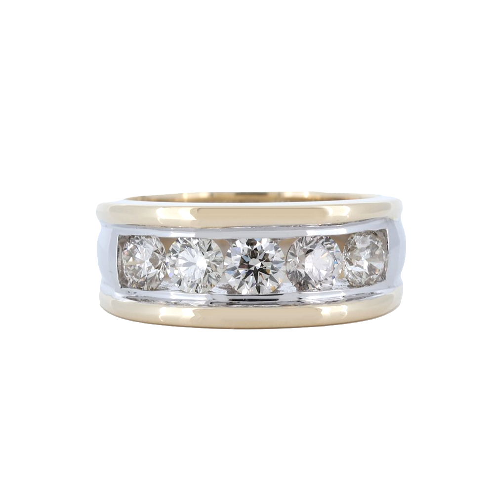 14K Two-Tone Mens 5 Stone Channel Set Round Diamond Band With 2.22 Ct.