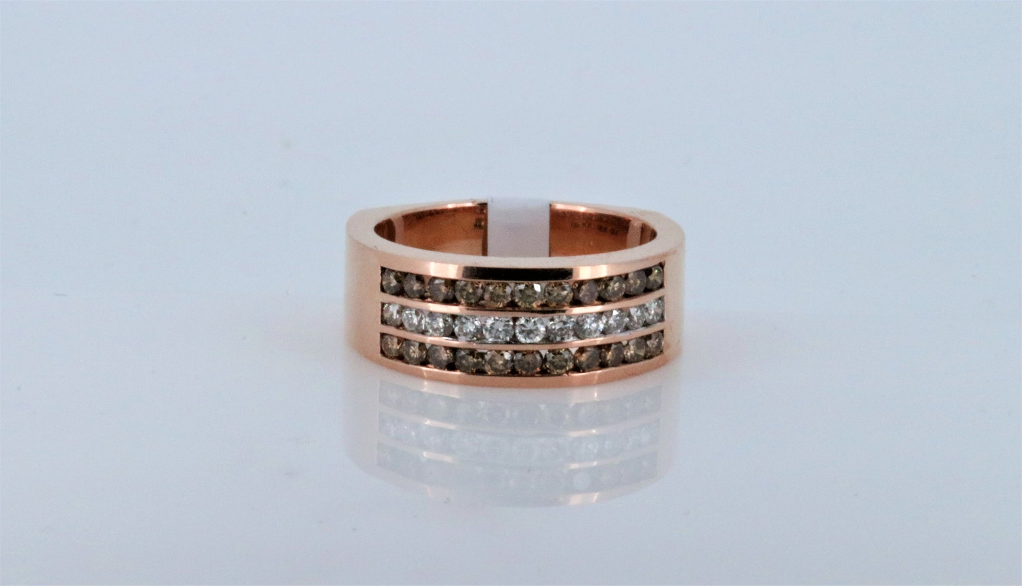 Fancy Choco and White Diamond Rose Gold Mens Ring