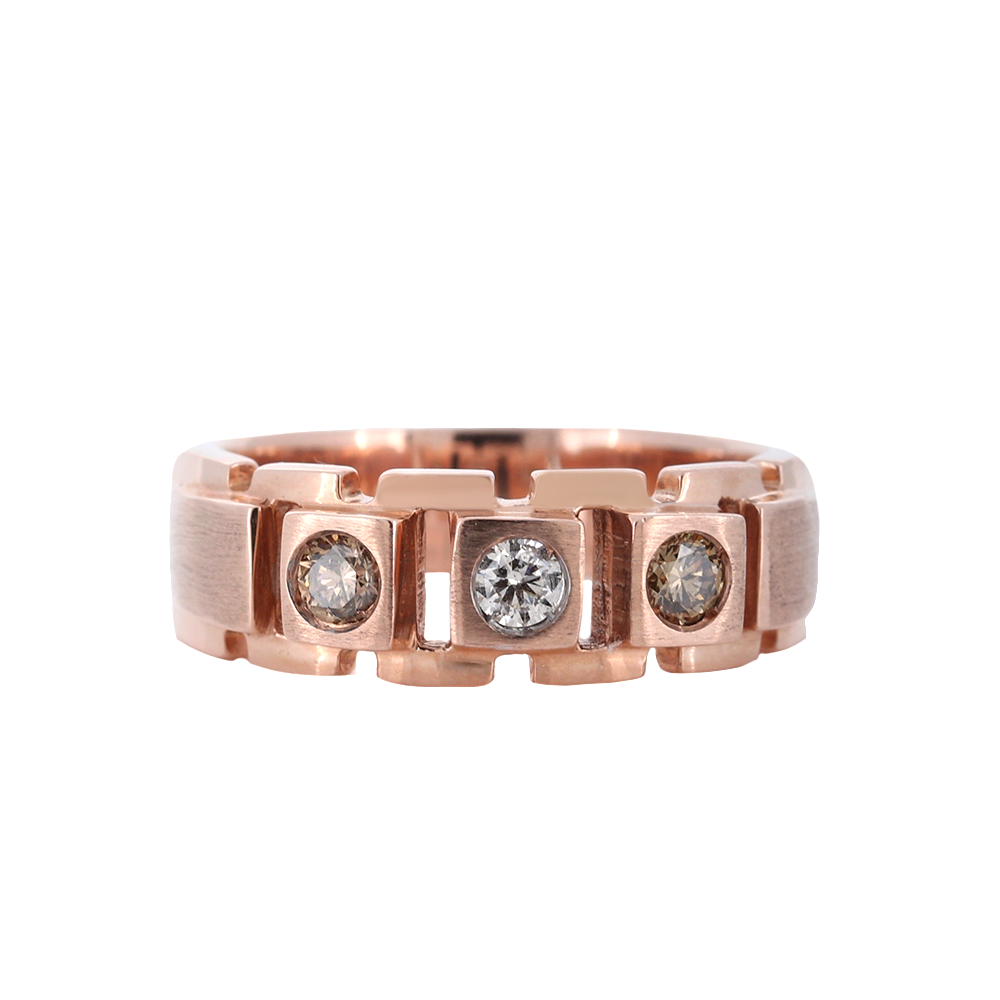 Fancy Choco Diamond Mens Ring in Rose Gold
