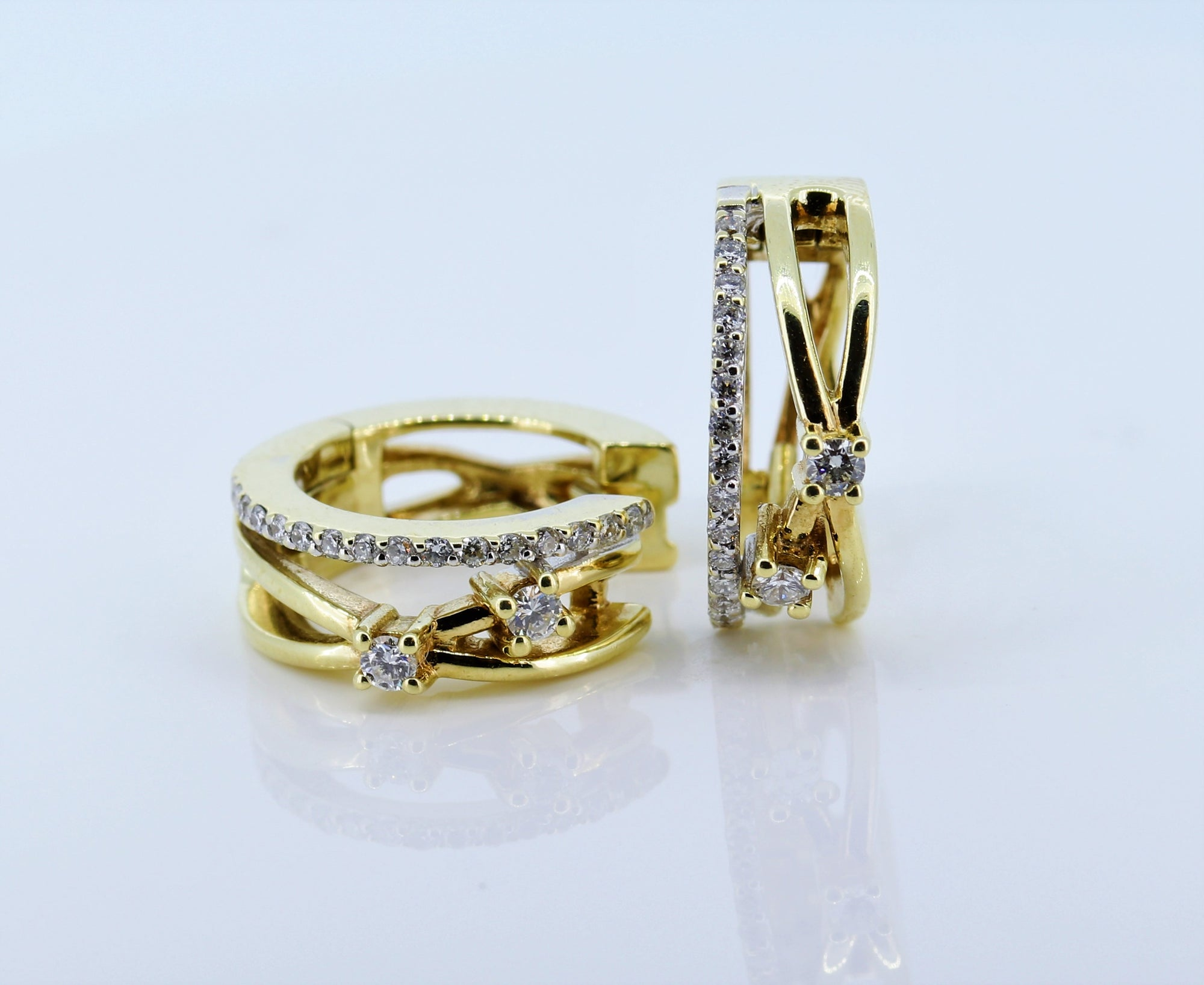 14K Yellow Gold Diamond Huggie Earrings 0.50 Ct