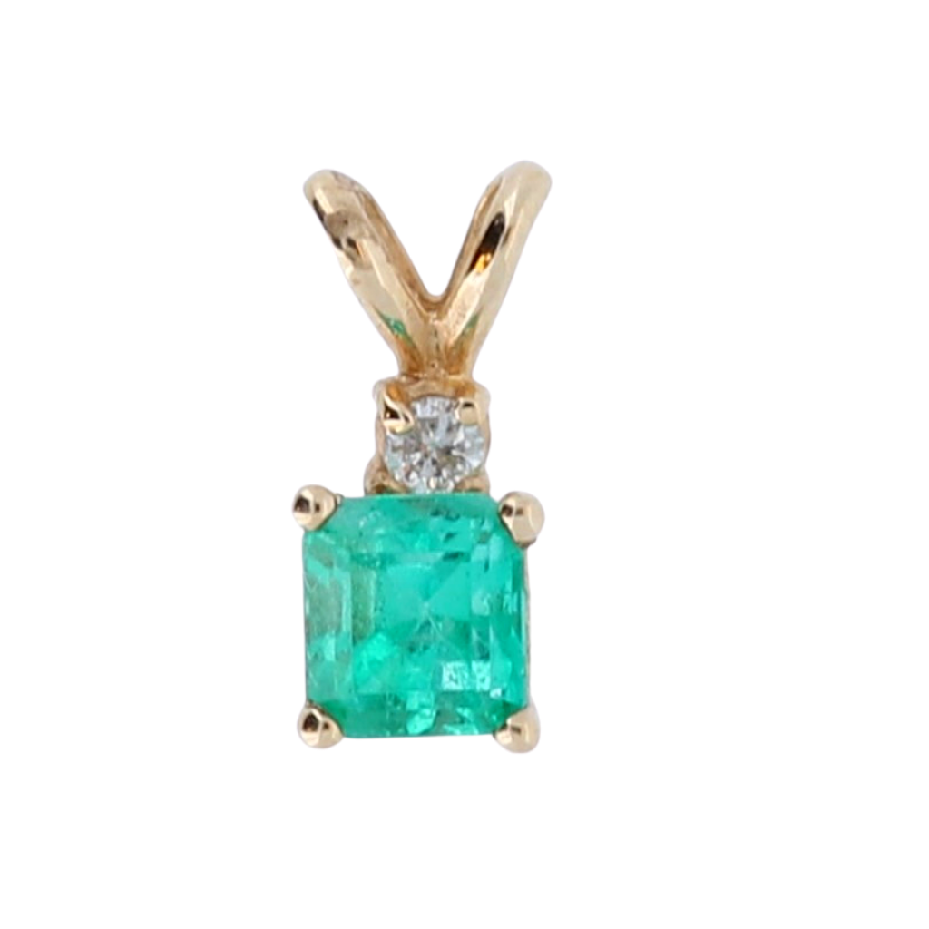 14k Yellow Gold Pendant with .51ct Emerald and .02ct diamonds