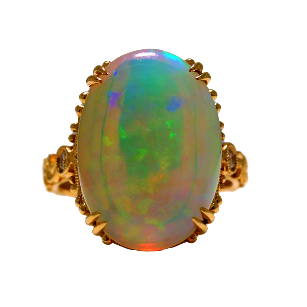 14k Yellow Gold Ring with 7.28ct Opal and diamonds