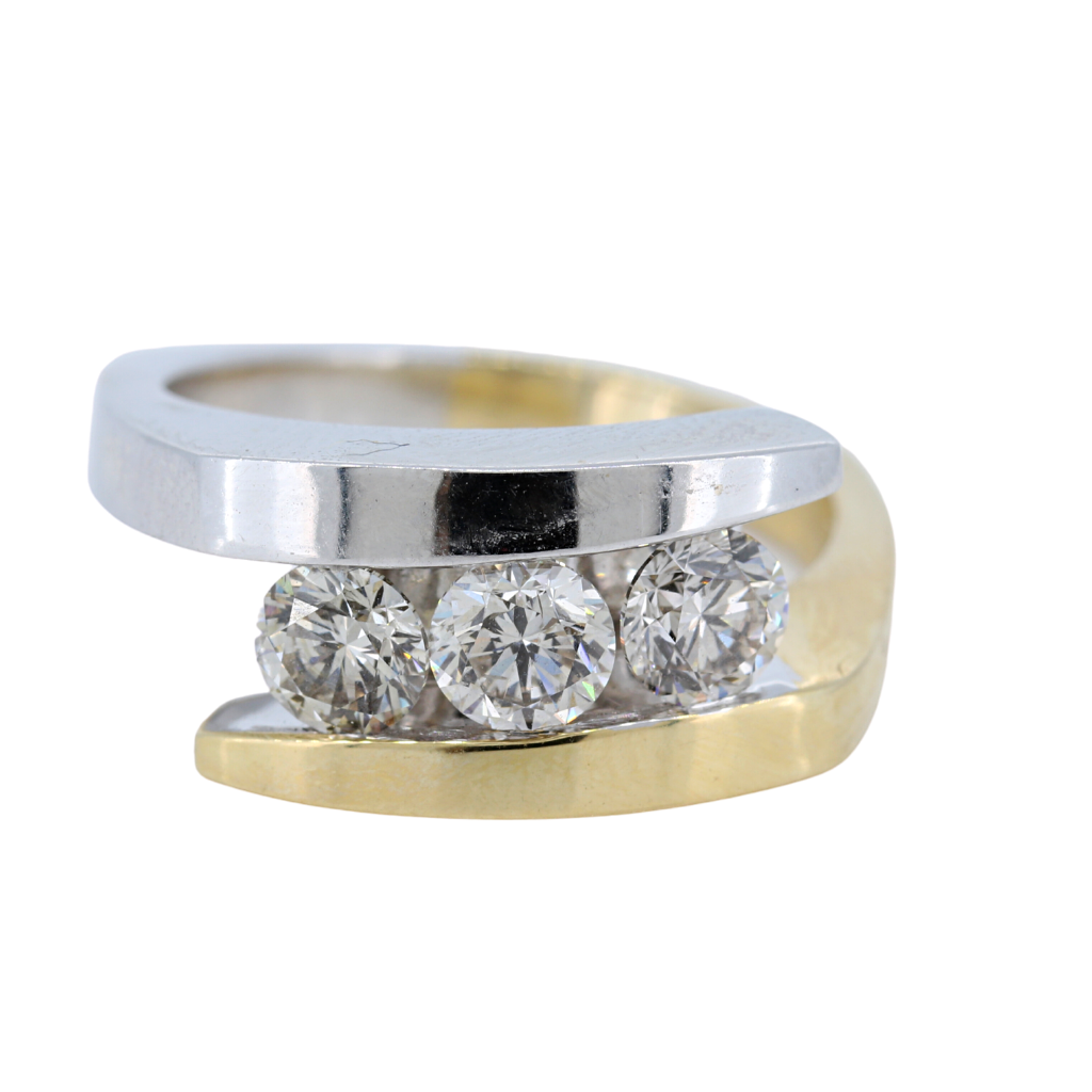14k Two Tone Yellow and White Gold Diamond Ring 1.44ct