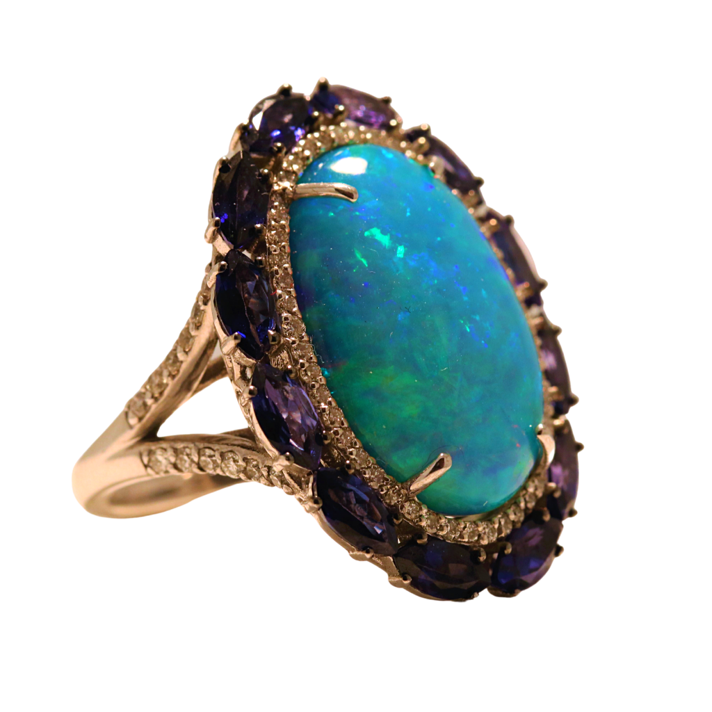 14k White Gold Ring with 9.58ct Opal, 2.92 Tanzanite and .68ct diamonds