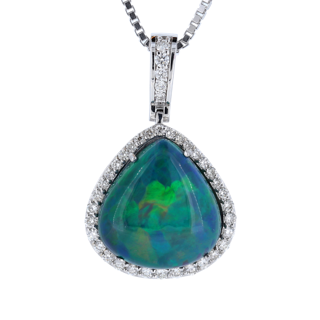 Extraordinary 14k White Gold Pendant Featuring a 7.95ct Opal