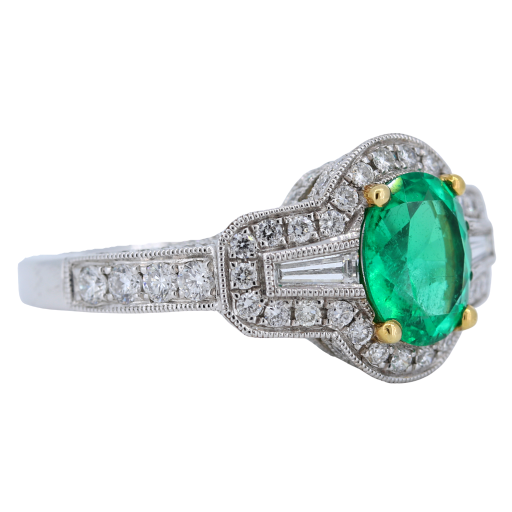 18k White Gold Ring with a 1.39ct Emerald and diamonds