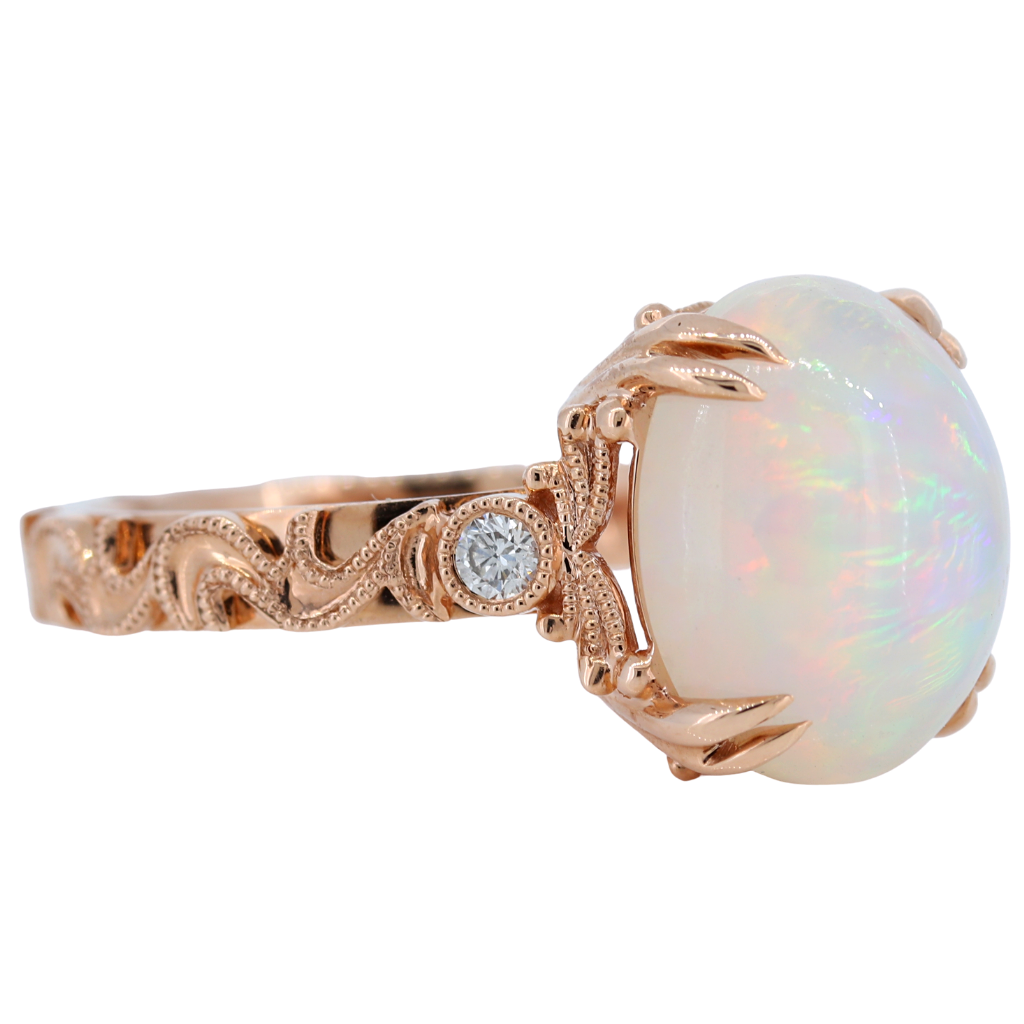 14k Rose Gold Ring with 3.35ct Opal and diamonds