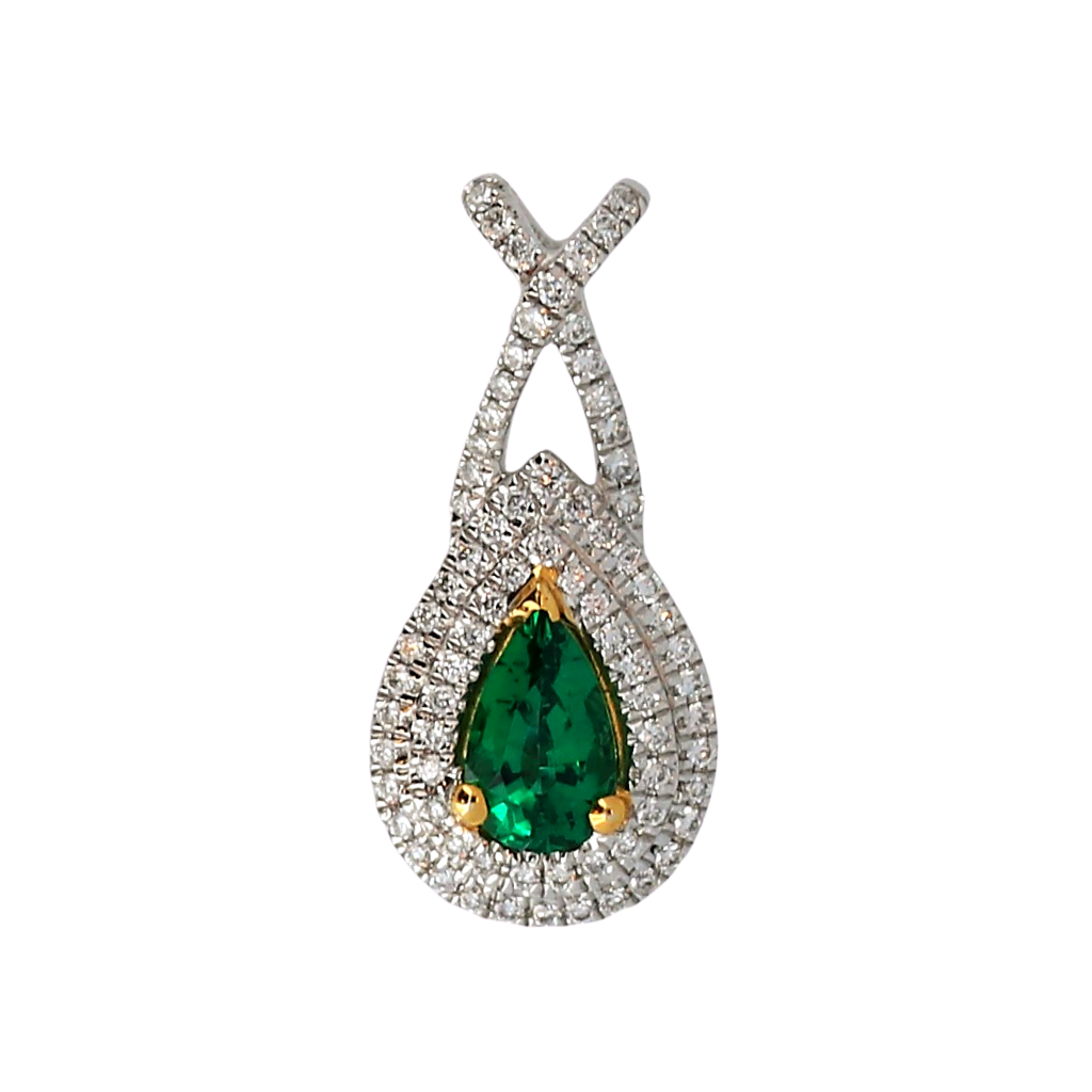 14k White Gold Pendant with a .31ct Emerald and .16ct diamonds