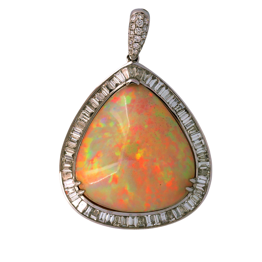 18k White Gold Pendant with 27.67ct Opal with 3.10ct diamonds