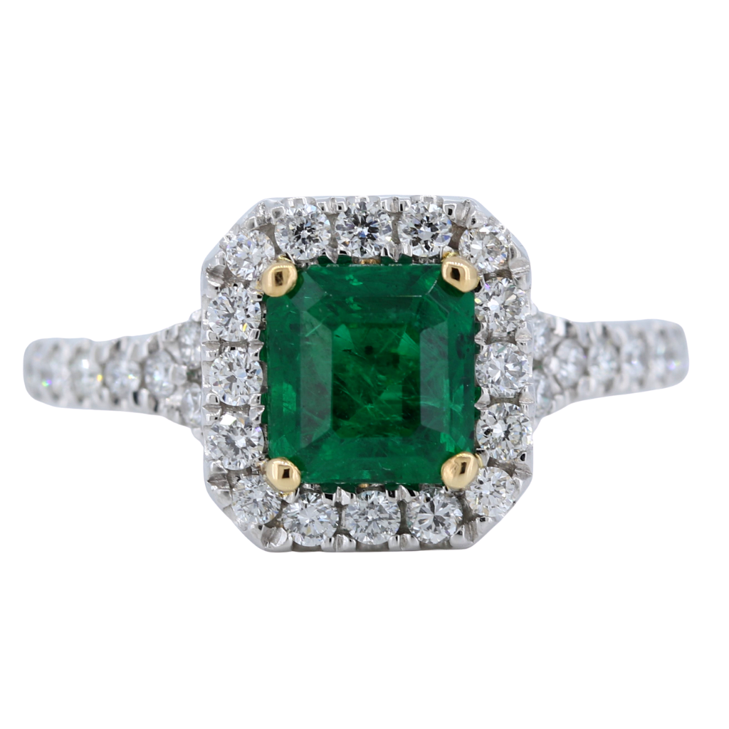 Platinum Ring with 1.38ct Emerald and .53ct diamonds