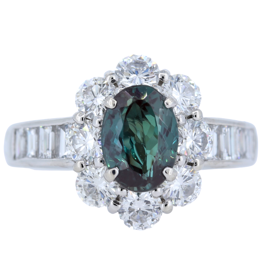 Platinum Ring with 1.71ct Alexandrite and 1.91ct diamonds