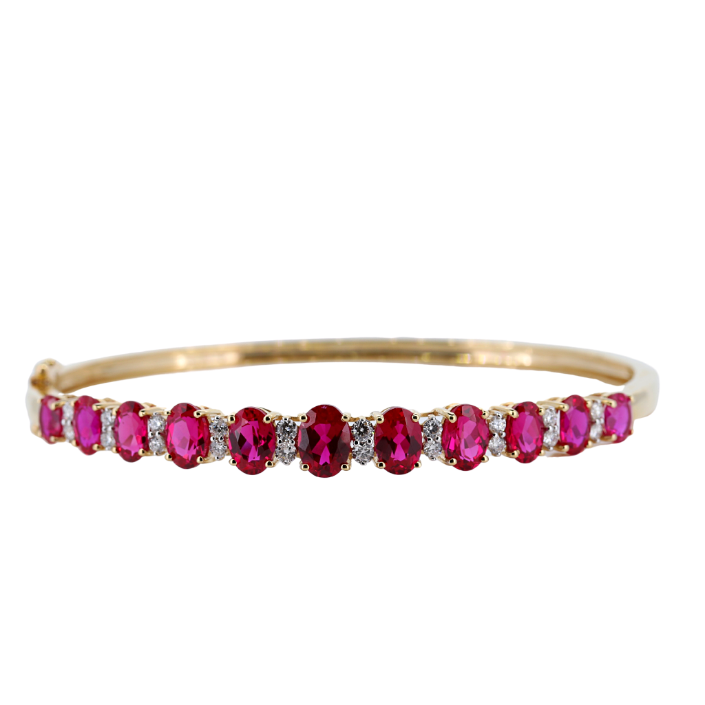 Extraordinary Ruby and Diamond Bangle Set In 14K Yellow Gold