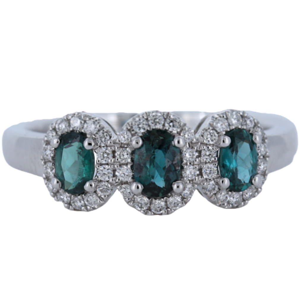 18k White Gold Ring with .63ct Alexandrite and diamonds