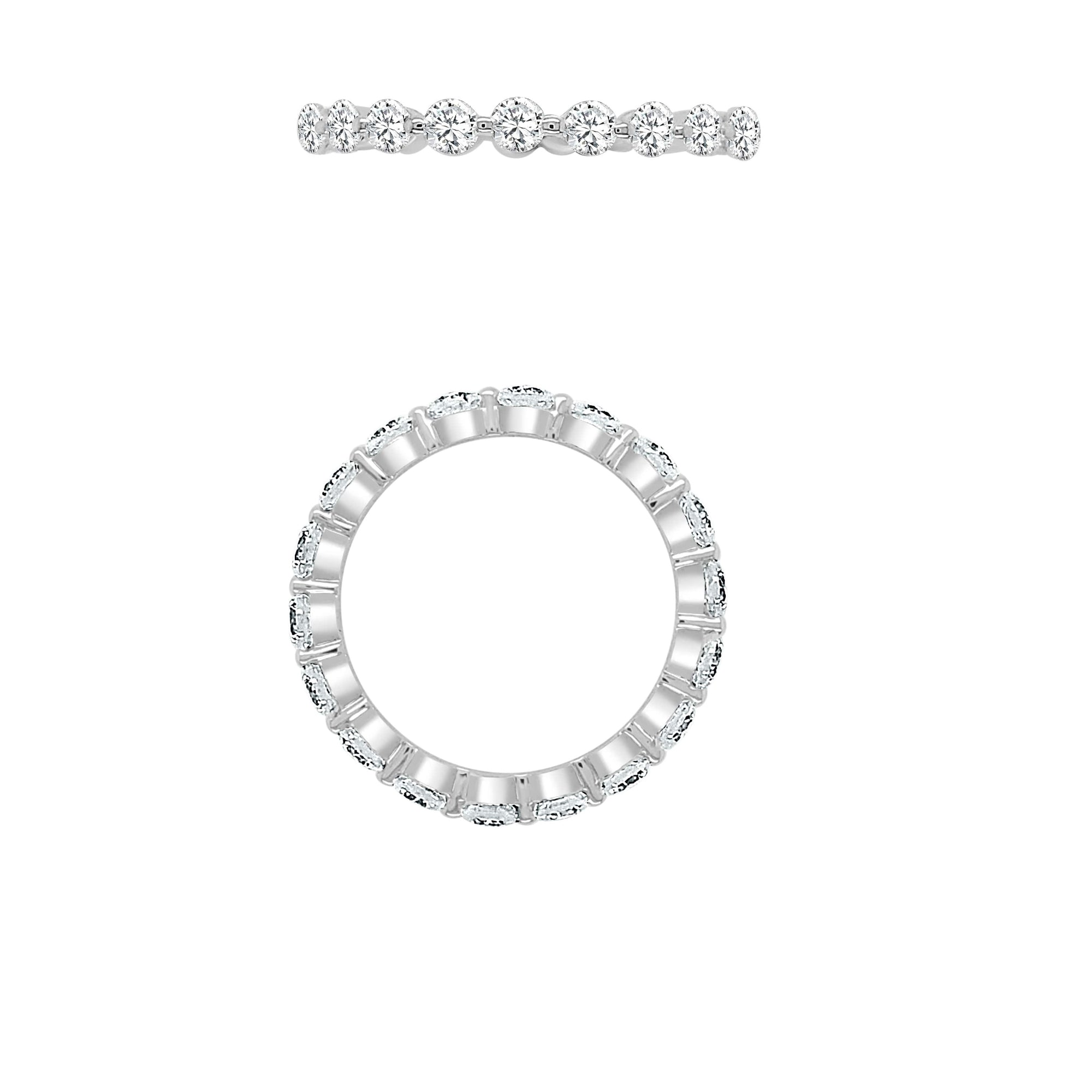 2 Prongs Eternity Diamond Band Made In 14K White Gold