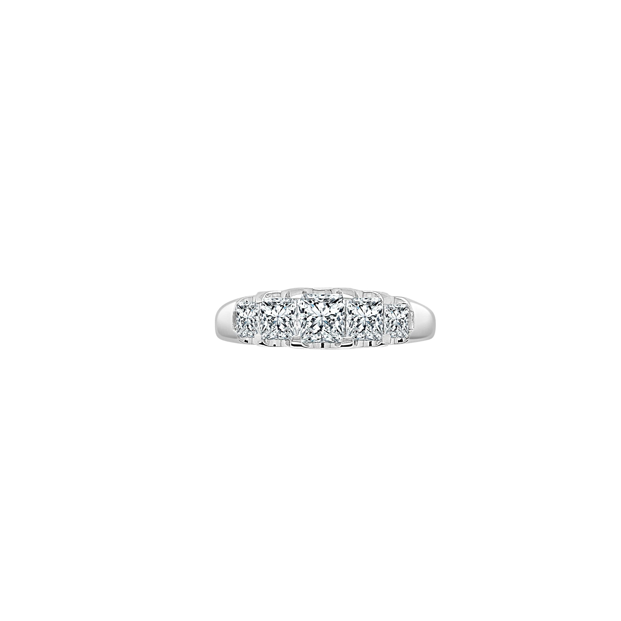 5 Stones Princess Diamond Band Made In 14K White Gold