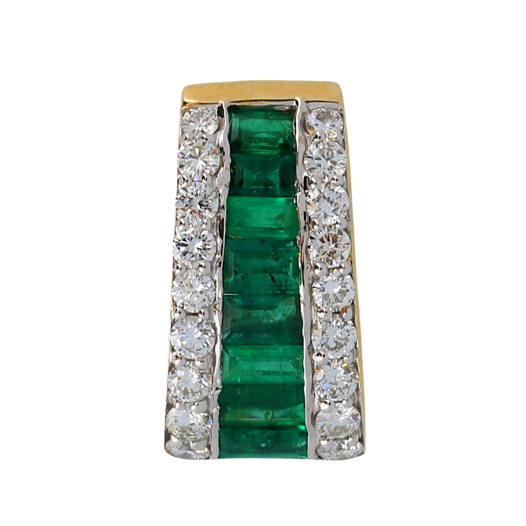 14k Yellow Gold Pendant with 1.52ct Emerald with .79ct diamonds