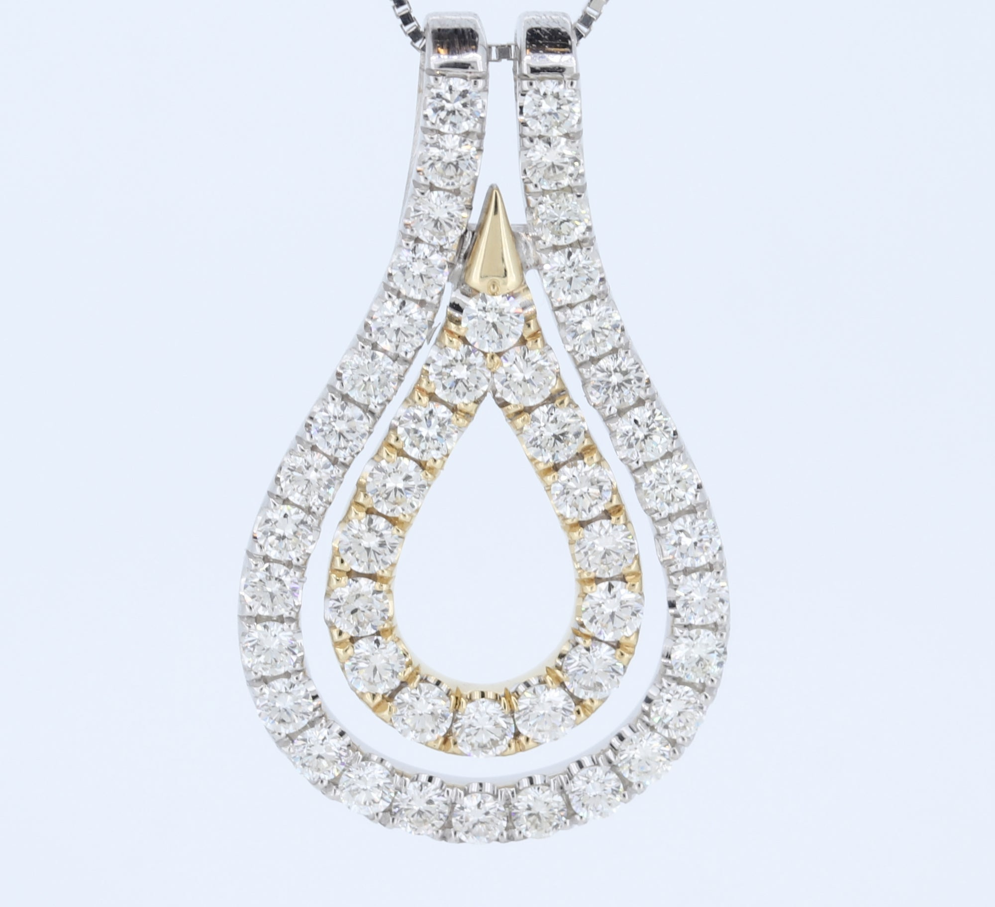 14Kt Two Tone Tear Drop Pave Pendant