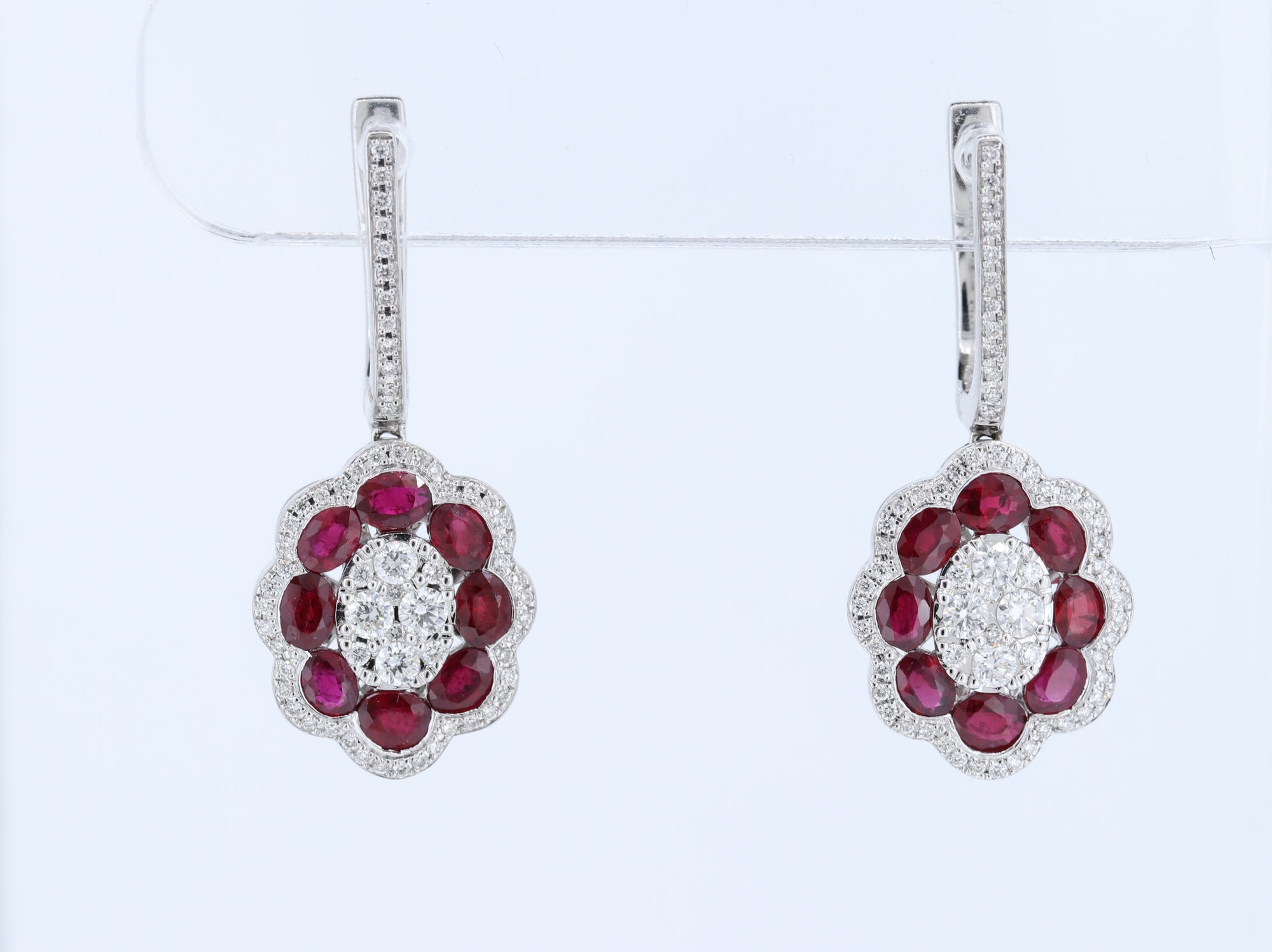 14kt Ruby and Diamond Earrings in White Gold - Ruby Count - 16 pcs (4.19ctw)