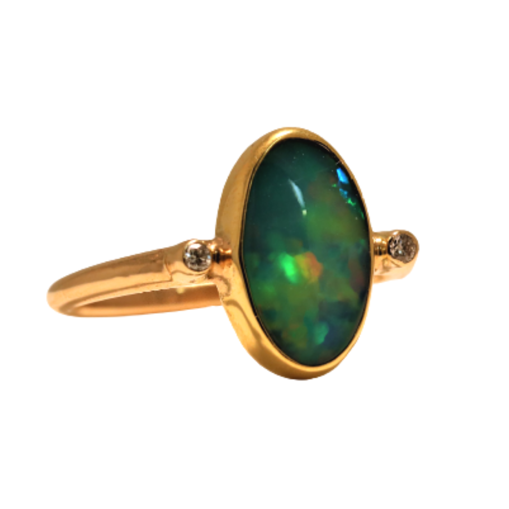 14k Yellow Gold Ring with 2.6ct Opal and .06ct diamonds