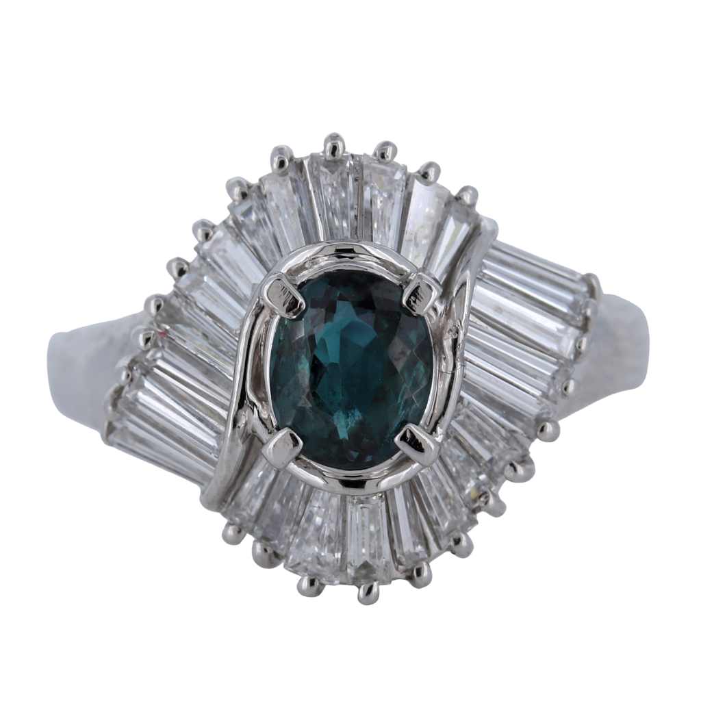 Platinum Ring with .74ct Alexandrite and .95ct diamonds