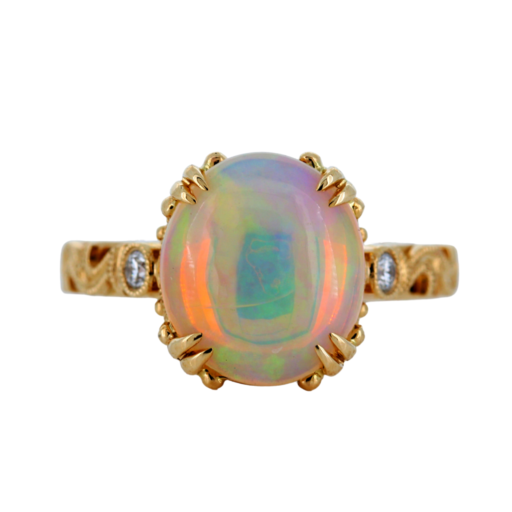14k Yellow Gold Ring with 2.17ct Opal and diamonds