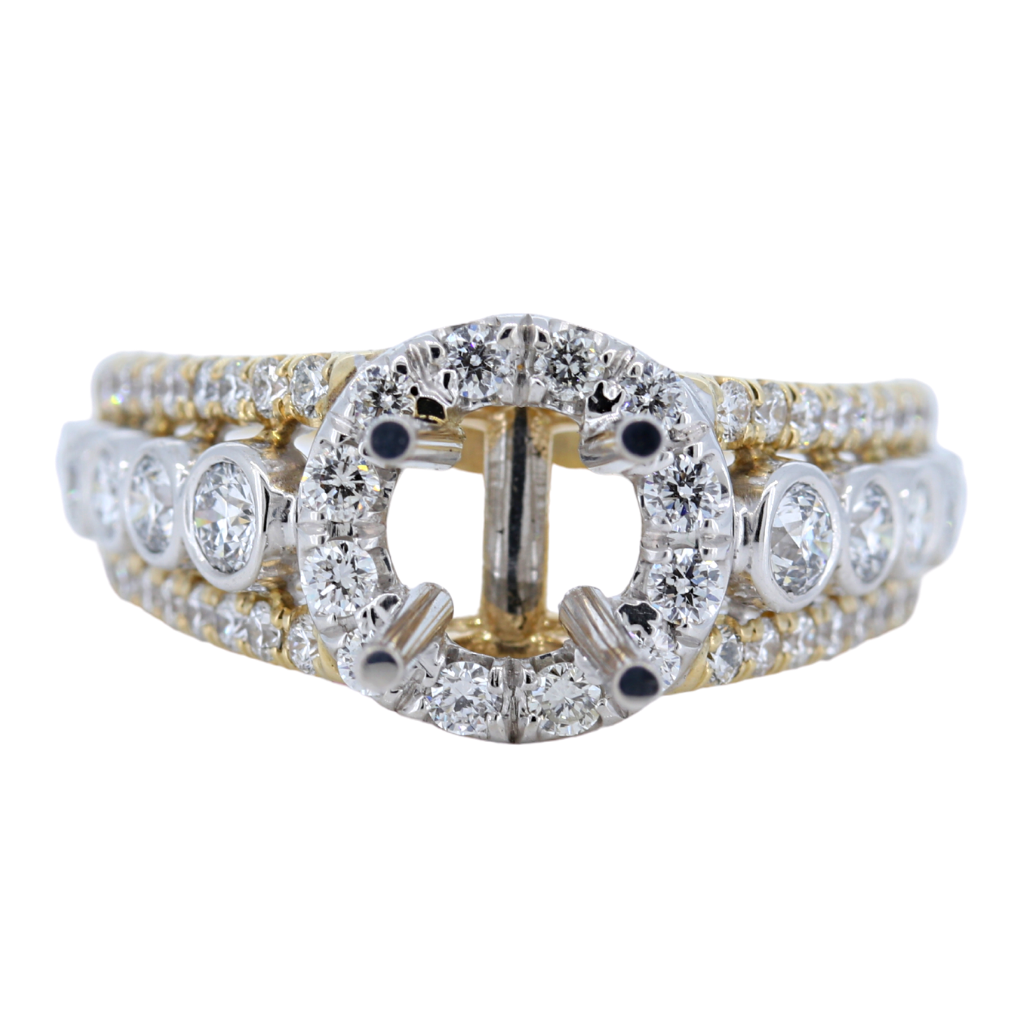 14k Two Tone Yellow and White Gold Setting with 1.46ct diamonds
