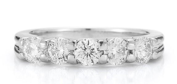 Five Stone Diamond Band Made In 14K White Gold