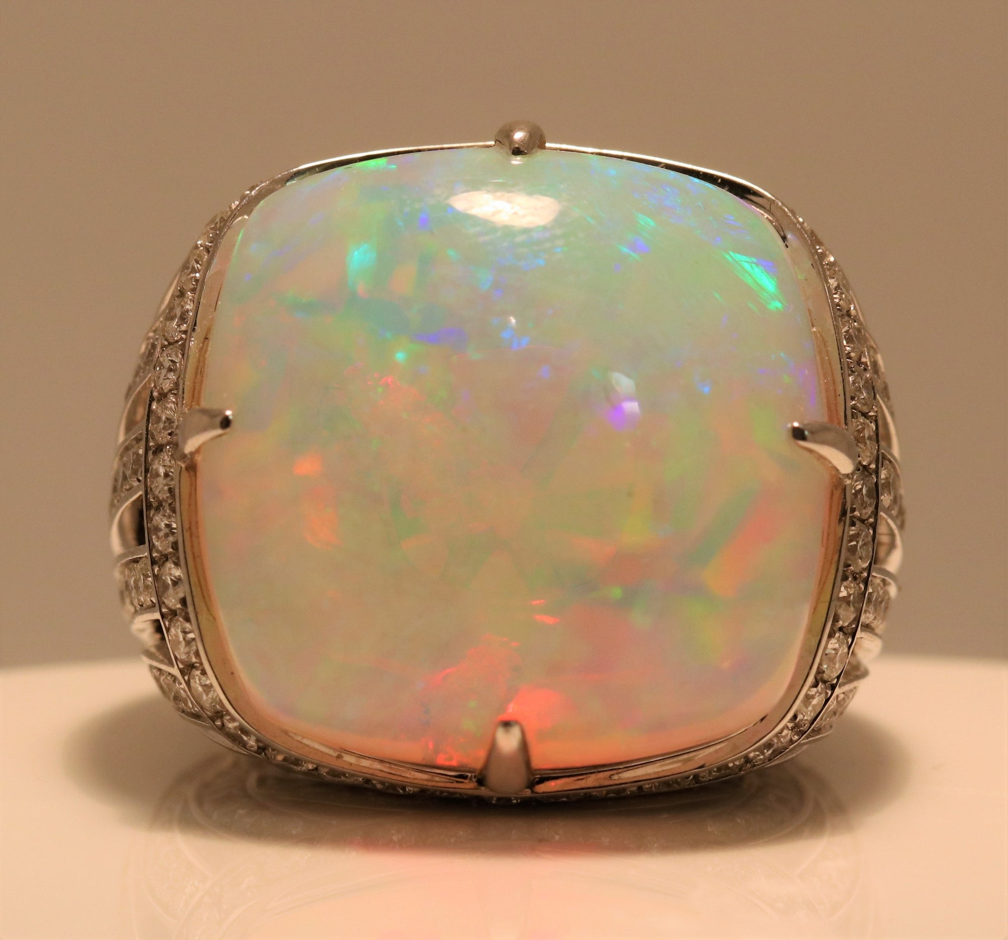 Cushion Cabochon Opal Ring With Diamond Halo